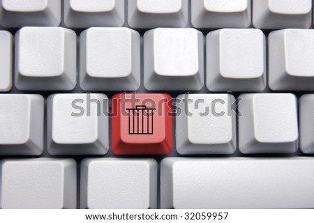 trash can in red on blank keyboard