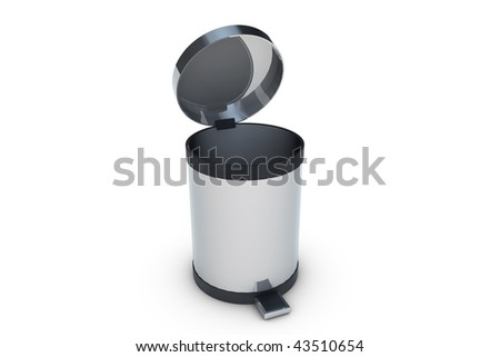 Trash can isolated on white