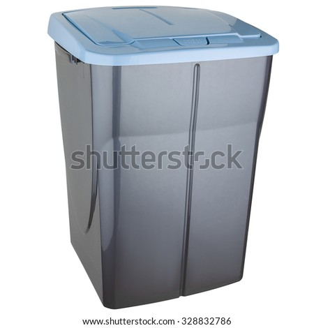 Trash can made of gray plastic with blue lid
