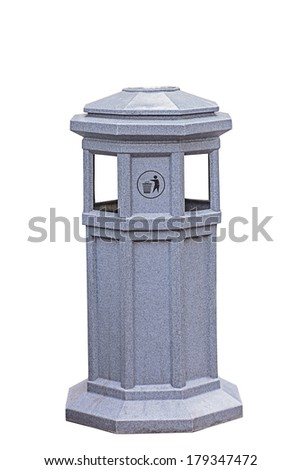 Trash can, trash bin isolated on white background with path - stock photo