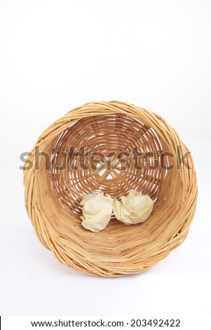 Trash rattan basket on isolated white background for graphic designer