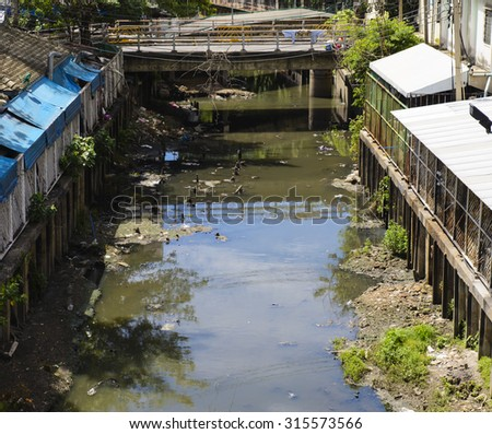 Trash river in Thailand - stock photo