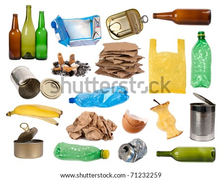 Trash samples isolated on white - stock photo