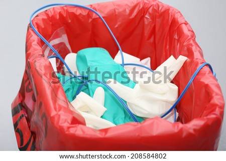 Trash with surgery disposable objects - stock photo