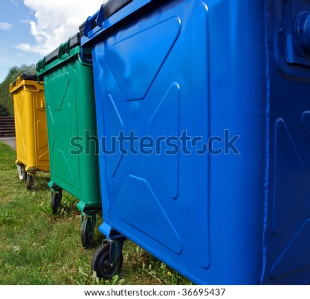 Trashbins for recycling - stock photo