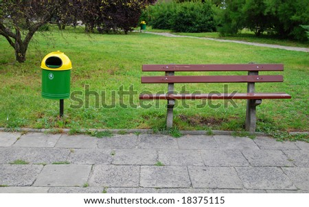 trashcan and bench - stock photo