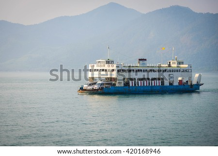 Trat, Thailand April 17, 2016: The ferry pier in Koh Chang, Trat, Thailand, on April 17, 2016 Koh Chang is the second largest in Thailand.