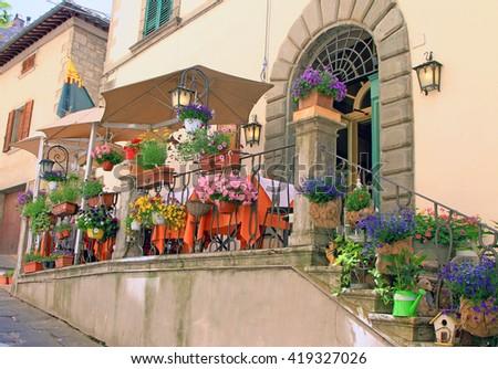 Trattoria in Cortona, Italy - stock photo