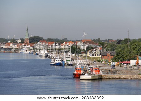 Trave river, old historic town of Lubeck, Germany  - stock photo
