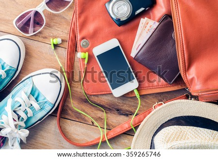 Travel accessories costumes, luggage, sunglasses The cost of travel hat prepared for the trip - stock photo