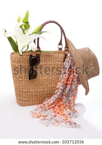 travel accessories on white background - stock photo