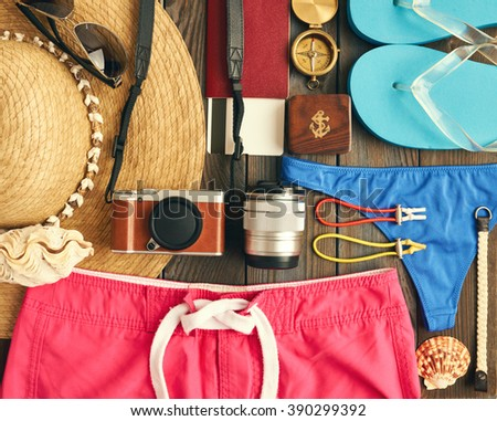 Travel and beach items flat lay still life  - stock photo
