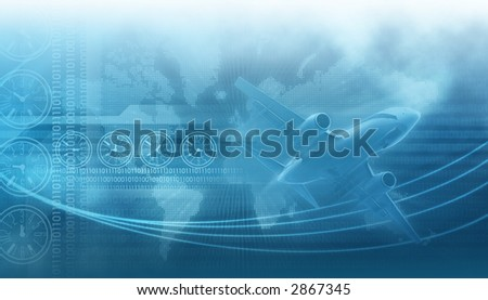 travel and business design background,landing airliner in the blue sky in the background clocks describing diferent times on earth and binary data codes, tech lines - stock photo