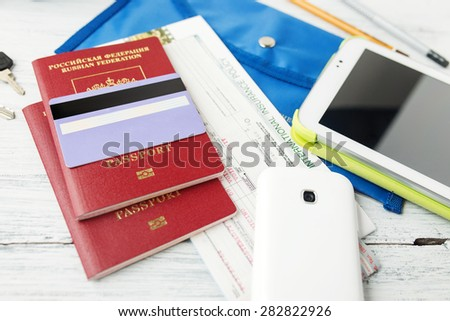 Travel and tourism concept. Air tickets, passports and credit card, tourism and planning