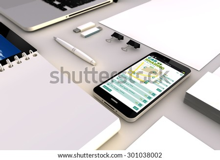 travel and tourism concept: close up view of a 3d generated touchscreeen smartphone with car sharing app on the screen. Screen graphics are made up. - stock photo