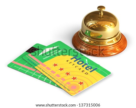 Travel and tourism concept: golden reception bell and group of color hotel keycards or cardkeys isolated on white background - stock photo