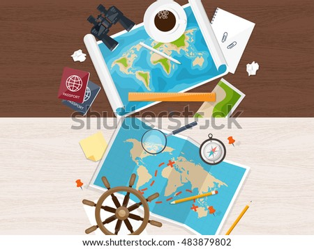 Vector cartoon illustration hand holding tablet vectores en stock travel and tourism flat style world earth map globe trip gumiabroncs Choice Image