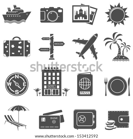 Travel and tourism icon set. Raster version. Vector version is also available. - stock photo