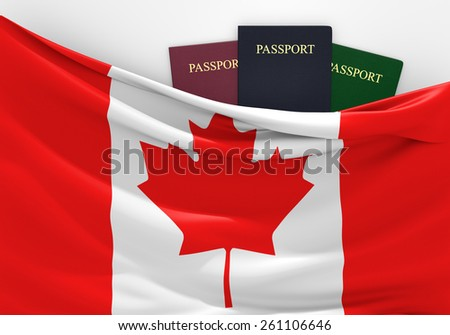 Travel and tourism in Canada, with assorted passports - stock photo
