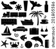 Travel and vacation silhouette icon set isolated on white. Raster version. - stock photo