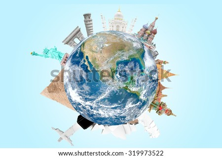 Travel around the world concept  Elements of this image are furnished by NASA