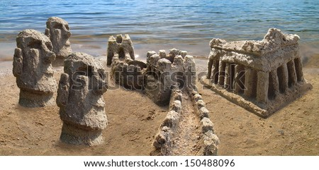 Travel around the world. Sandcastle copies of famous landmarks - Acropolis of Greece, Great Wall of China, moais of Rapa Nui.  - stock photo