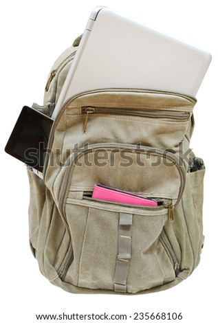 travel back pack with mobile devices isolated on white background - stock photo