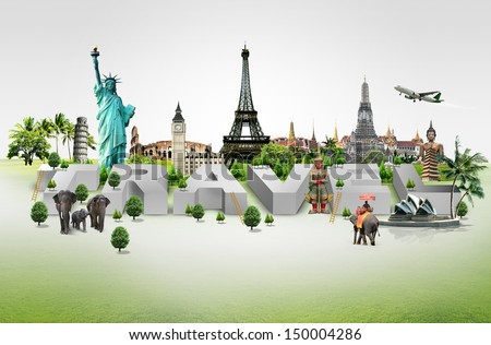 Travel background and infographic - stock photo