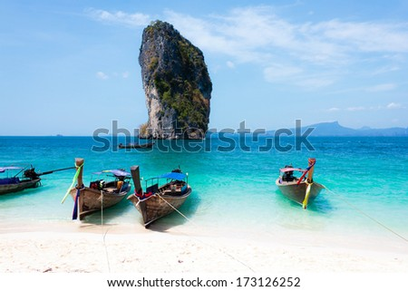 Travel background. Traditional long tail boats