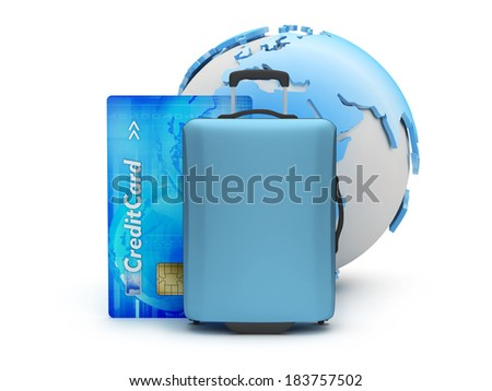 Travel bag, dollar bills and credit card on white background