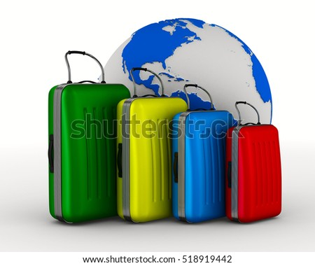 Travel bags on white background. Isolated 3D image