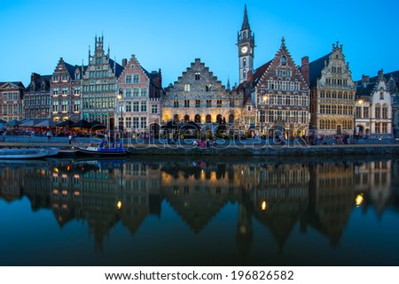 Travel Belgium medieval european city town background with canal. Ghent, Belgium - stock photo