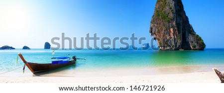 Travel boat on Thailand island beach. Tropical coast Asia landscape background - stock photo