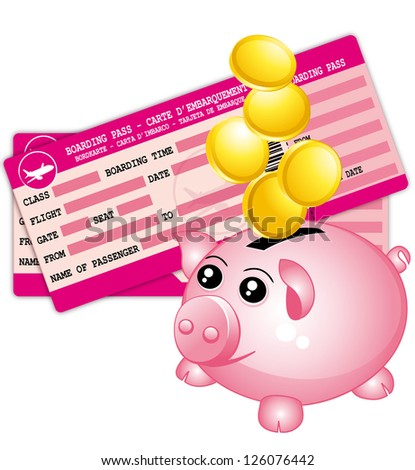 Travel budget. Pink boarding passes and piggy bank. - stock photo