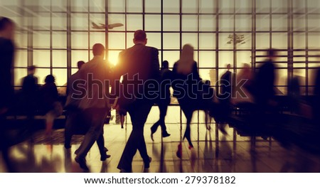 Travel Business People Commuter Airport Corporate Concept - stock photo