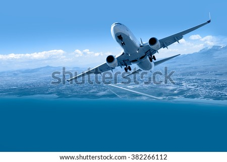 travel by air transport, Passenger airplane in the clouds.
