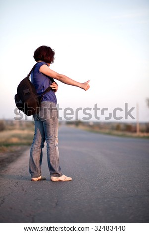 Travel by hitchhiking - stock photo