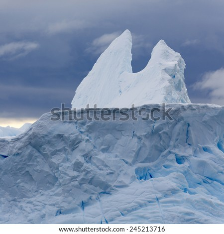 Travel by the research ship. Studying of climatic and weather changes in Antarctica. Snow and ices of the Antarctic islands.  - stock photo