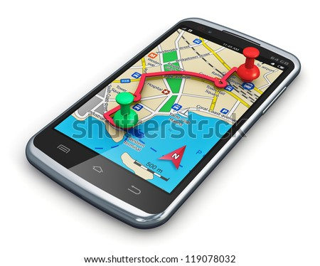 Travel, car auto tourism and route planning concept: GPS satellite navigation application in modern black glossy smartphone or touchscreen mobile phone isolated on white background - stock photo