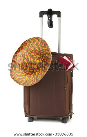 Travel case, hat and sunglasses isolated on white background - stock photo