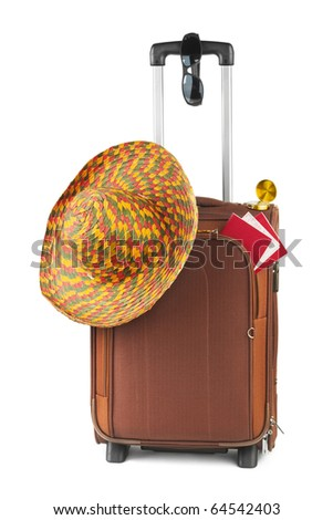 Travel case, hat, compass and sunglasses isolated on white background - stock photo