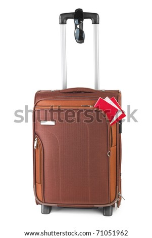 Travel case, passport and sunglasses isolated on white background - stock photo