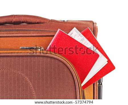 Travel case, passport and ticket isolated on white background - stock photo