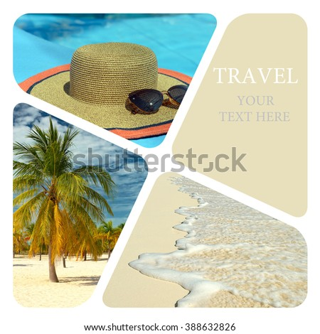 Travel collage. Luxury spa resort. Wave of the sea on the sand beach.
