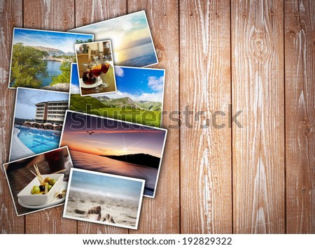 travel collage on wooden background - stock photo
