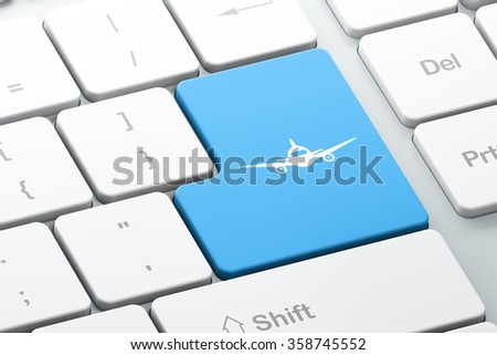 Travel concept: Aircraft on computer keyboard background - stock photo