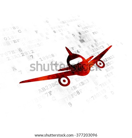 Travel concept: Aircraft on Digital background - stock photo