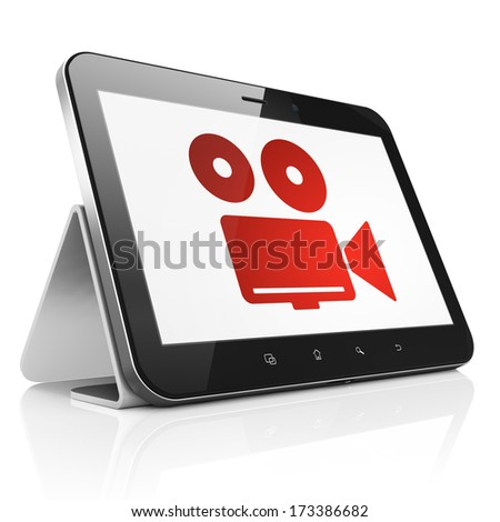 Travel concept: black tablet pc computer with Camera icon on display. Modern portable touch pad on White background, 3d render - stock photo