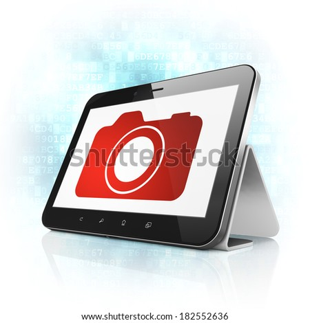 Travel concept: black tablet pc computer with Photo Camera icon on display. Modern portable touch pad on Blue Digital background, 3d render - stock photo