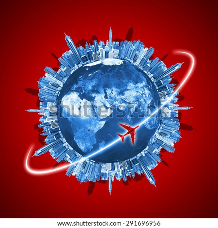 Travel concept, Buildings forming the globe, Elements of this image furnished by NASA. - stock photo